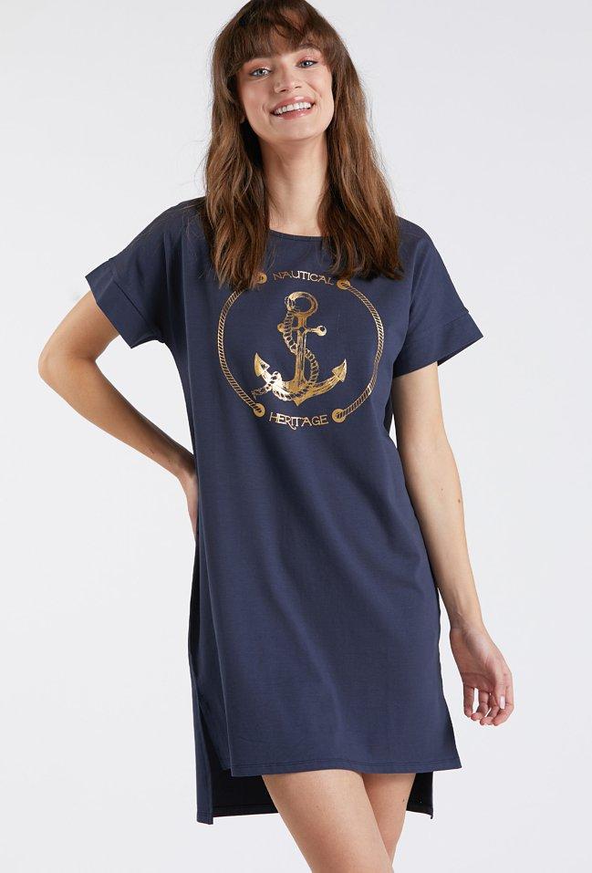 Koszula nocna z marynistycznym nadrukiem