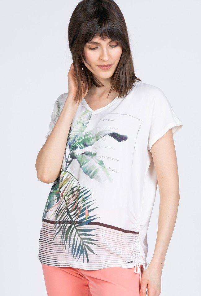 T-shirt z nadrukiem w liście
